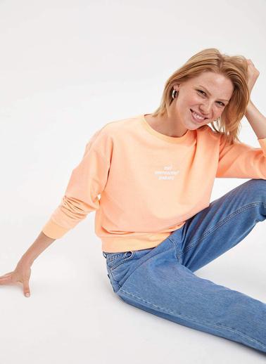 DeFacto Baskılı Sweatshirt Oranj